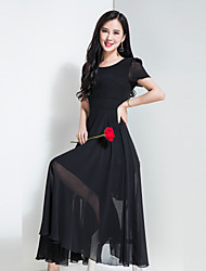 Women's Daily Holiday Going out Casual Chiffon Swing Dress,Solid Round Neck Maxi Short Sleeves Polyester Chiffon Spring Summer High Rise