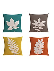 cheap -4 pcs Linen Pillow case Sofa Cushion Travel Pillow Body Pillow Bed Pillow, Botanical Pattern Fashion