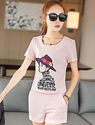 Damen Verziert Cartoon Design Buchstabe Freizeit Alltag Normal T-Shirt-Ärmel Hose Anzüge,Rundhalsausschnitt Sommer Kurzarm Mikro-elastisch