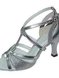 preiswerte -Damen Schuhe für den lateinamerikanischen Tanz Kunstleder Sandalen / Sneaker Schnalle Niedriger Heel Maßfertigung Tanzschuhe Silber