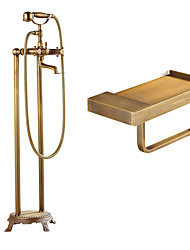 Shower Faucet / Bathtub Faucet-Contemporary-Rain Shower / Handshower Included / Pullout Spray-Brass(Chrome)