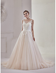 cheap -A-Line Princess Illusion Neckline Court Train Lace Tulle Wedding Dress with Appliques Buttons by Marrica