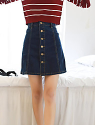 Women's Casual/Daily Above Knee Skirts A Line Solid Spring Summer
