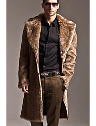 cheap -Men's Daily Simple Casual Winter Fur Coat,Solid Shirt Collar Long Sleeve Long Others