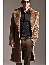 abordables -Manteau en Fourrure Homme,Couleur Pleine Quotidien simple Décontracté Hiver Manches longues Col de Chemise Longue Autres