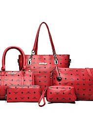 Women Bags All Seasons PU Bag Set Zipper for Casual Office & Career Blue White Black Red Light Green
