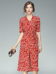 Fodero Vestito Da donna-Per uscire Casual Moda città Con stampe A V Medio Manica corta Seta Estate Autunno A vita medio-alta Anelastico