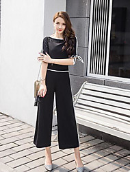 Women's Daily Casual Casual Summer T-shirt Pant Suits,Striped Round Neck 1/2 Length Sleeve Micro-elastic