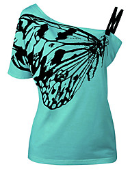cheap -Women's Daily Holiday Going out Beach Casual Street chic Summer T-shirt,Print One Shoulder Short Sleeves Polyester