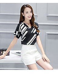 Women's Going out Casual/Daily Simple Vintage Casual Spring Summer T-shirt Pant Suits,Solid Striped Sexy Round Neck Short Sleeve Stylish