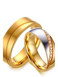 cheap -Couple's Couple Rings AAA Cubic Zirconia Gold Cubic Zirconia Titanium Steel Round Vintage Elegant Simple Style Wedding Anniversary