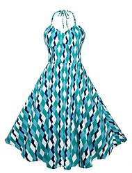 cheap -Women's Daily Vintage Sheath Dress,Plaid Halter Knee-length Sleeveless Cotton Summer Mid Rise Micro-elastic Medium