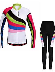 economico -WOSAWE Maglia con pantaloni da ciclismo Per donna Manica lunga Bicicletta Set di vestiti Traspirazione umidità Asciugatura rapida Strisce