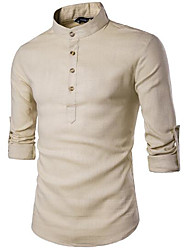 cheap -Men's Casual/Daily Work Simple Shirt,Solid Plaid Stand Long Sleeves Cotton Linen Others