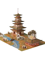 Недорогие -3D пазлы Бумажная модель Игрушки Квадратный Знаменитое здание Архитектура 3D Своими руками Плотная бумага Не указано Куски