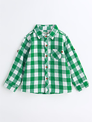 baratos -Para Meninos Camisa Houndstooth Primavera Outono Algodão Manga Longa Verde