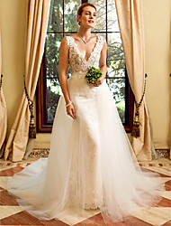 cheap -Sheath / Column Plunging Neckline Chapel Train Lace Tulle Wedding Dress with Appliques by LAN TING BRIDE®