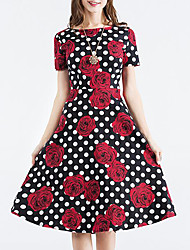 Women's Going out Vintage Swing Dress,Polka Dot Floral Round Neck Knee-length Short Sleeve Cotton Summer Mid Rise Inelastic Medium