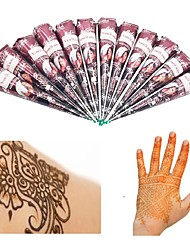 cheap -12X Natural Henna Temporary Tattoo Ink Brown Color- India Mehendi Ink For Body Art Painting for Men & Women