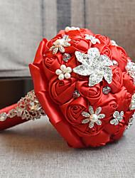 "cheap -Wedding Flowers Bouquets Wedding Bead Lace Silk Organza Satin 7.48""(Approx.19cm) 10.63""(Approx.27cm)"
