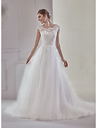 A-Line Jewel Neck Court Train Lace Tulle Wedding Dress with Lace by MD