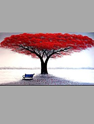 cheap -Hand-Painted Knife Red Tree Scenery Oil Painting Wall Art With Stretcher Frame Ready To Hang