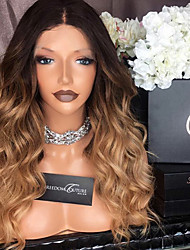 cheap -Remy Human Hair Lace Front Wig Body Wave 150% Density 100% Hand Tied African American Wig Natural Hairline Ombre Hair Short Medium Long