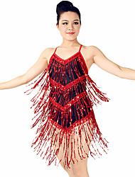 MiDee Latin Dance Dresses Women's Training Spandex Sequined Tassel(s) Sequins Sleeveless Natural