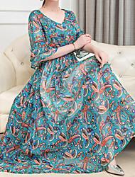 baratos -Mulheres Tamanhos Grandes Boho Reto Vestido Xadrez Decote Princesa Longo
