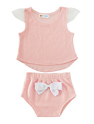 cheap -Baby Children's Cotton Causal Solid Colored Clothing Set