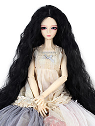 cheap -Synthetic Doll Accessories Long Kinky Curly Black Color Middle Centre Parting Hair for 1/3 1/4 Bjd SD DZ MSD Doll Costume Wigs Not for Human Adult