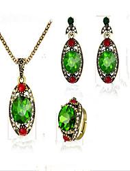 Damen Braut-Schmuck-Sets Kristall Synthetischer Smaragd Synthetischer Rubin Vintage Krystall Kubikzirkonia vergoldet Aleación Tropfen 1