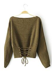 Normal Pullover Femme Sortie Décontracté / Quotidien simple Chic de Rue,Couleur Pleine Col Arrondi Manches LonguesLaine Acrylique