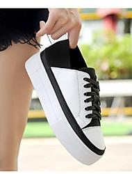 Damen Sneaker Leuchtende Sohlen Leder Frühling Herbst Normal Walking Schnürsenkel Flacher Absatz Schwarz/weiss 5 - 7 cm