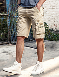 Men's Mid Rise Inelastic Loose Shorts Pants,Simple Relaxed Oversized Solid