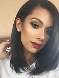 Femme Perruque Naturelles Dentelle Cheveux humains Full Lace Sans Colle Full Lace 150% Densité Raide Perruque Noir Court Mi Longue Ligne