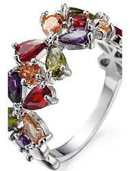 Муж. Жен. Ложе камня Классические кольца Кольцо ЦирконийБазовый дизайн Уникальный дизайн Английский Цветочный принт Классика Прочный
