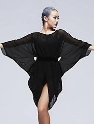baratos -Dança Latina Blusas Mulheres Treino Tule Fitas e Laços Manga Longa Natural Blusa