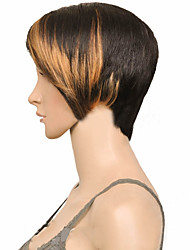 cheap -Blonde Brown Mix Black Short Straight Cosplay Party Wig Woman Synthetic Hair