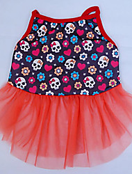 Dog Dress Dog Clothes Casual/Daily Skulls Orange Blue