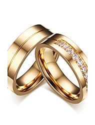 cheap -Couple's AAA Cubic Zirconia Couple Rings - Cubic Zirconia Classic, Simple Style, Elegant 5 / 6 / 7 Gold For Wedding / Party Evening / Engagement