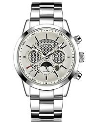 abordables -Hombre Cuarzo Reloj de Pulsera Gran venta Acero Inoxidable Banda Casual Moda Negro Plata