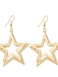 cheap -Hot New Fashion Elegant Charm Plated Gold/Silver Hollow Five-pointed Star Drop Earrings For Women Dangle Long Earrings Jewelry Bijouterie