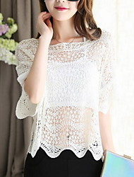Women's Casual Sexy Short Pullover,Solid Round Neck Short Sleeve Cotton Summer Thin Micro-elastic