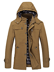 cheap -Men's Daily Vintage Winter Fall Jacket,Solid Hooded Long Sleeve Long Cotton