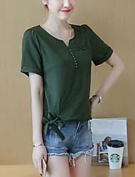 abordables -Chemisier Grandes Tailles Femme, Couleur Pleine - Noeud Manche Gigot Col en V Coton Nylon