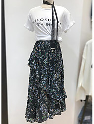 Women's Office/Career Daily Casual Classic Vintage Fashion Spring Summer T-shirt Skirt Suits,Solid Floral Textured Round Neck Short Sleeve