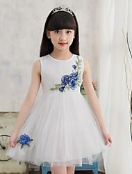 Girl's Embroidered Dress,Cotton Acrylic Summer Sleeveless
