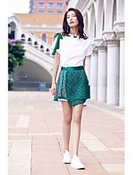 AGD Women's Birthday Party Going out Casual/Daily Simple Casual Sweet Spring Summer T-shirt Skirt SuitsSolid Round Neck Short SleeveLace Cut