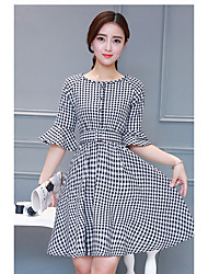 cheap -Women's Daily Casual Loose Dress,Plaid/Check Round Neck Knee-length Short Sleeves Polester/Cotton Blend Summer High Rise Micro-elastic